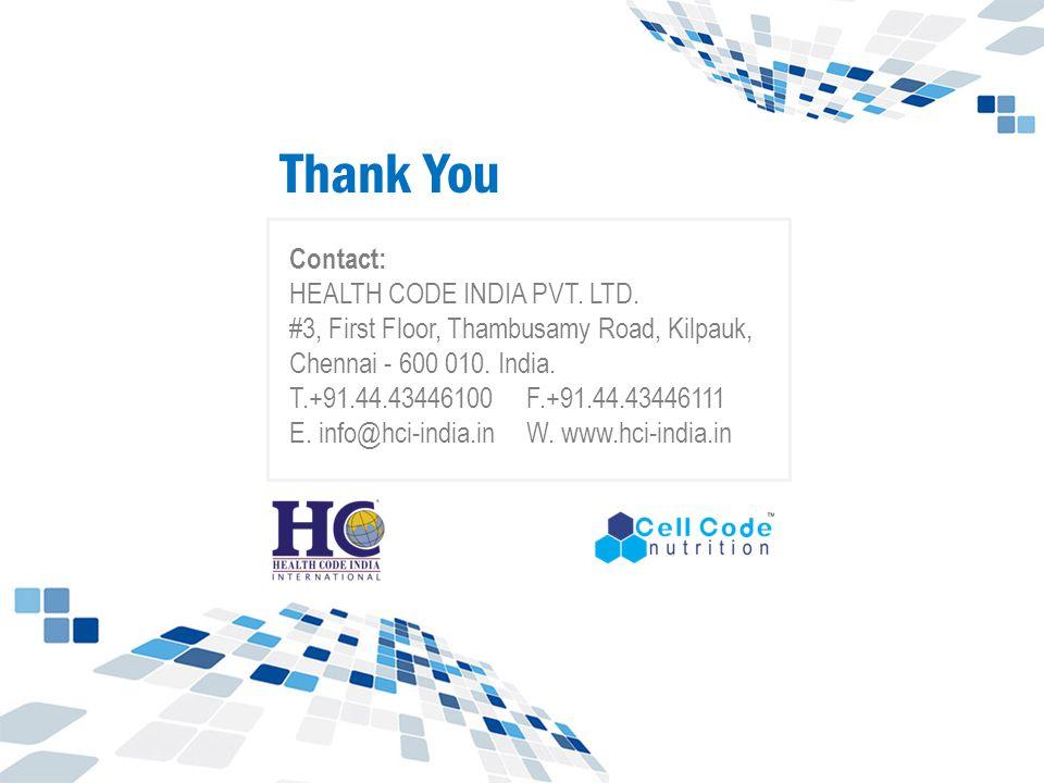 Contact: HEALTH CODE INDIA PVT.LTD. #3, First Floor, Thambusamy Road, Kilpauk, Chennai - 600 010.
