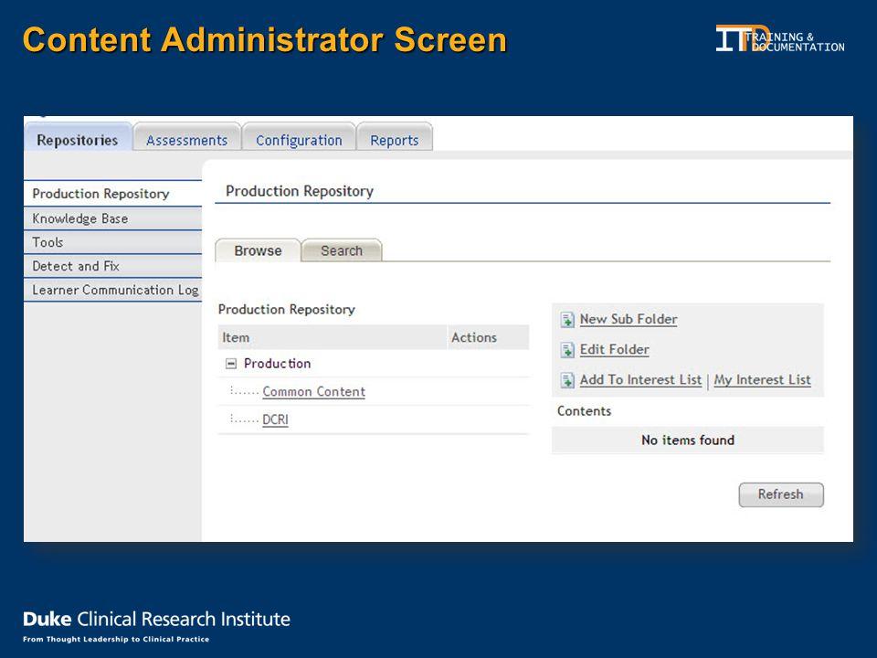 Content Administrator Screen