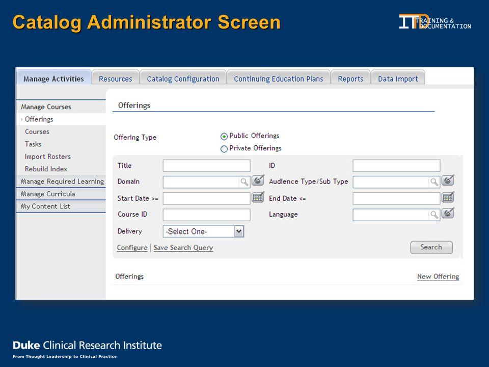 Catalog Administrator Screen