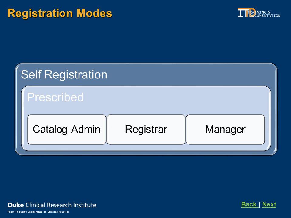 Registration Modes Self Registration Prescribed Catalog AdminRegistrarManager Back Back | NextNext