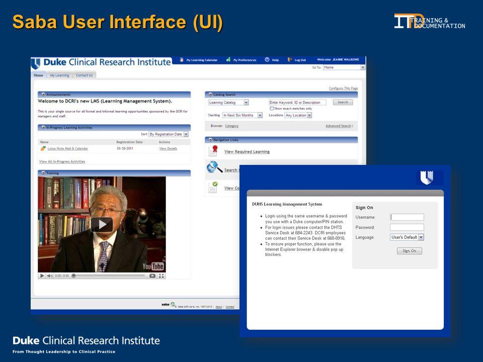Saba User Interface (UI)