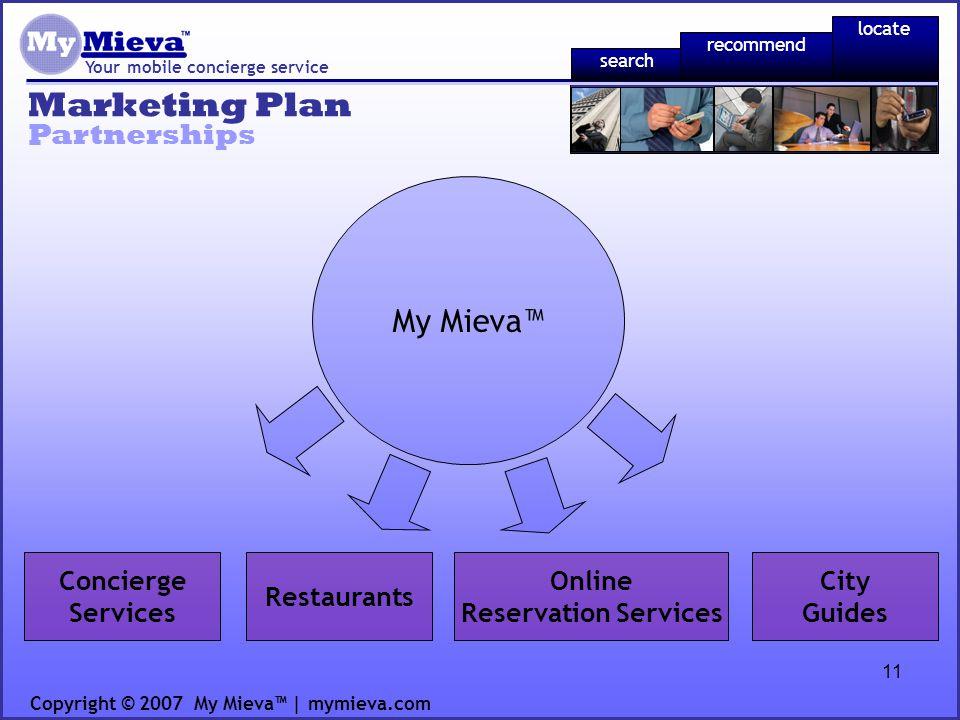 11 Marketing Plan Your mobile concierge service Partnerships Copyright © 2007 My Mieva | mymieva.com Concierge Services Restaurants Online Reservation