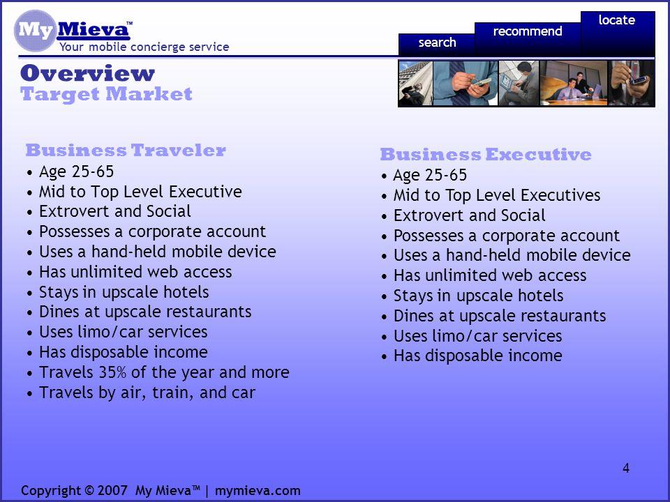 25 Financial Plan Your mobile concierge service Exit Strategy Copyright © 2007 My Mieva | mymieva.com recommend locate search Year 1Year 2Year 3Year 4Year 5 Advertisements per Use56789 Percentage of per Click Adsna 25%50% Click through Ratena 3% Revenue per Clickna $0.08$0.10 Percentage of Impression Ads100% 75%50% Revenue per 1000 impressions$1.00 Revenue per Use $0.005 0 $0.006 0 $0.009 5 $0.0160 $0.018 0 Usage per customer44556 Revenue per Monthly User $0.020 0 $0.024 0 $0.047 3 $0.0800 $0.108 0