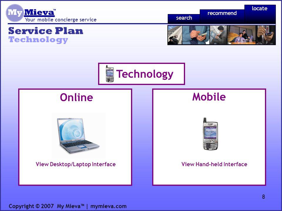 8 Service Plan Your mobile concierge service Technology Copyright © 2007 My Mieva | mymieva.com Online Mobile Technology View Desktop/Laptop Interface