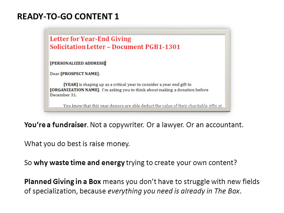 READY-TO-GO CONTENT 1 Youre a fundraiser. Not a copywriter.