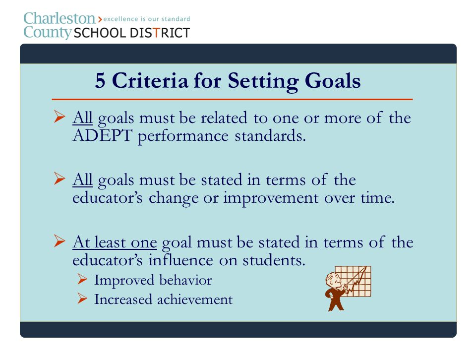 All goals must be related to one or more of the ADEPT performance standards. All goals must be stated in terms of the educators change or improvement