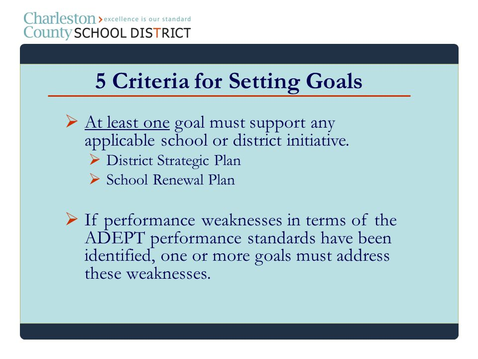 At least one goal must support any applicable school or district initiative. District Strategic Plan School Renewal Plan If performance weaknesses in