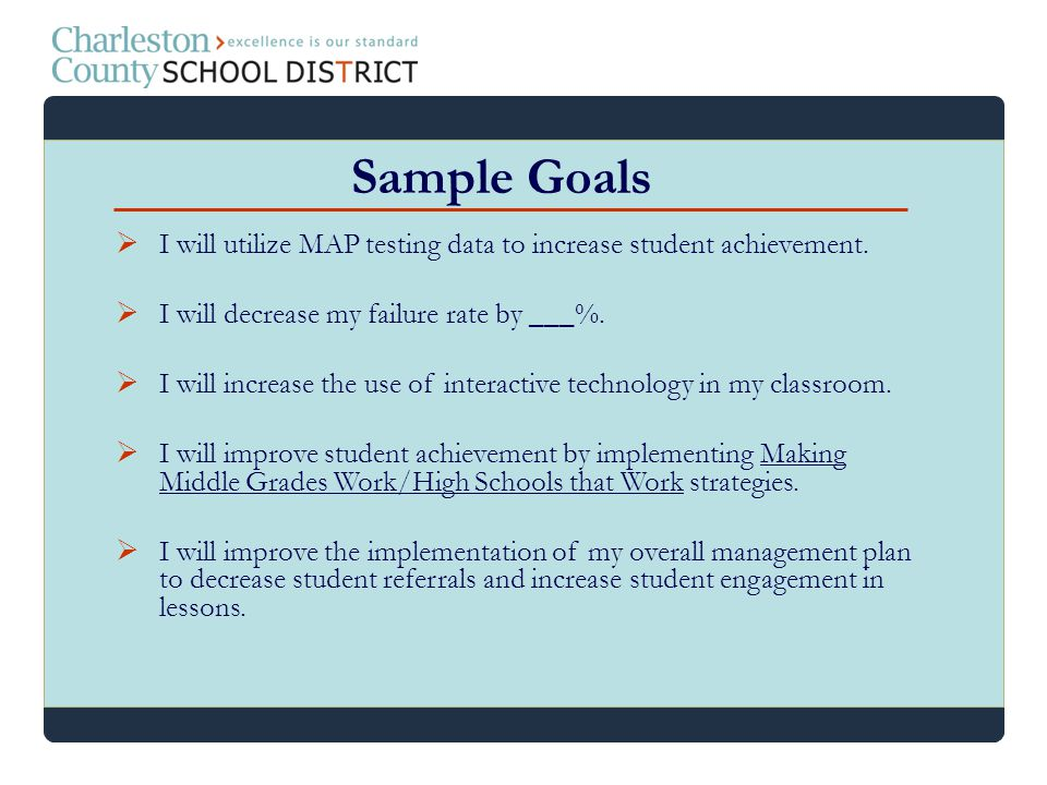 I will utilize MAP testing data to increase student achievement. I will decrease my failure rate by ___%. I will increase the use of interactive techn