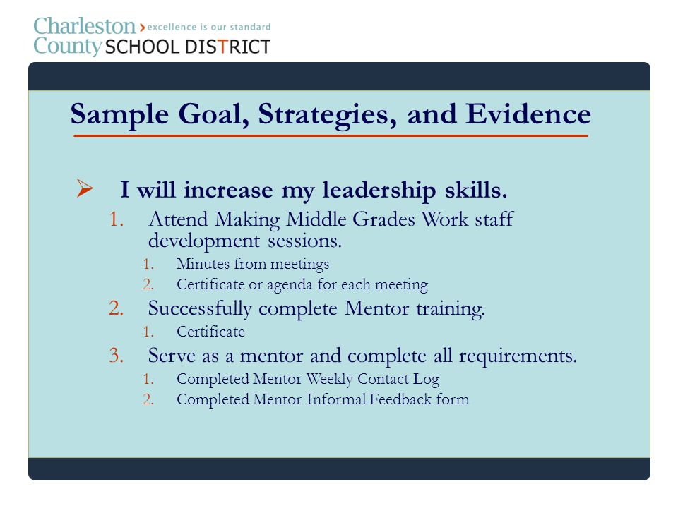 I will increase my leadership skills. 1.Attend Making Middle Grades Work staff development sessions. 1.Minutes from meetings 2.Certificate or agenda f