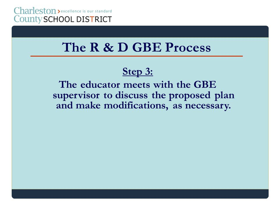 Step 3: The educator meets with the GBE supervisor to discuss the proposed plan and make modifications, as necessary. The R & D GBE Process