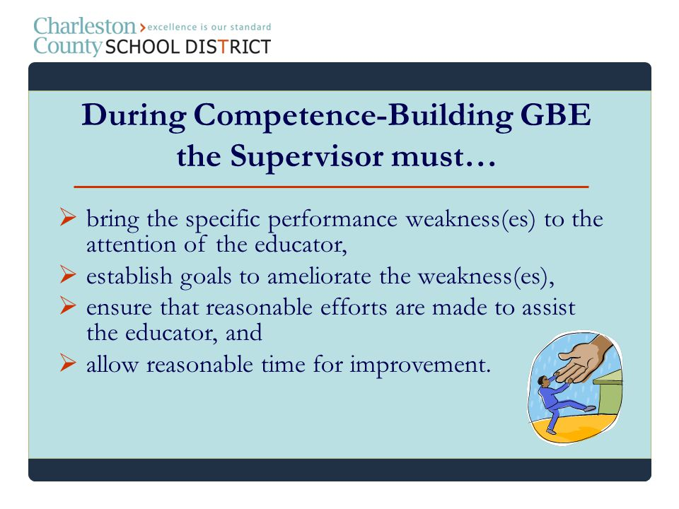 bring the specific performance weakness(es) to the attention of the educator, establish goals to ameliorate the weakness(es), ensure that reasonable e