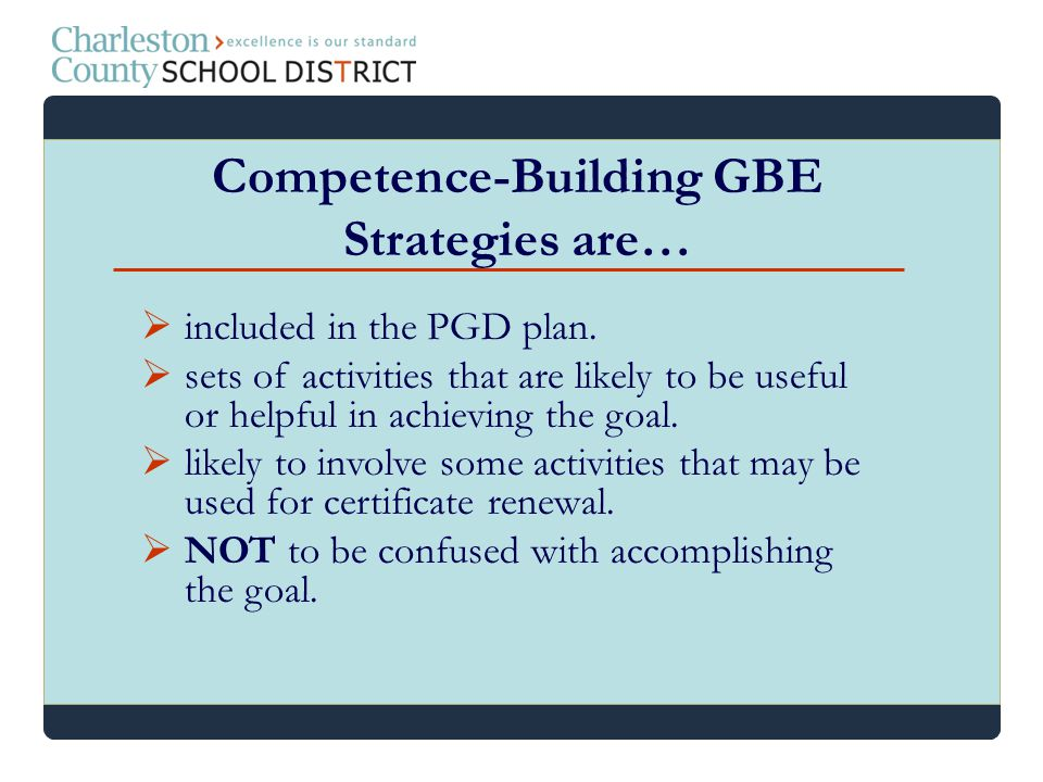 included in the PGD plan. sets of activities that are likely to be useful or helpful in achieving the goal. likely to involve some activities that may