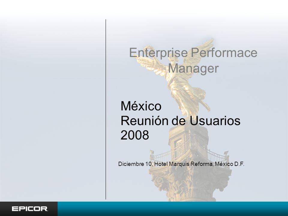 México Reunión de Usuarios 2008 Enterprise Performace Manager Diciembre 10, Hotel Marquis Reforma, México D.F.