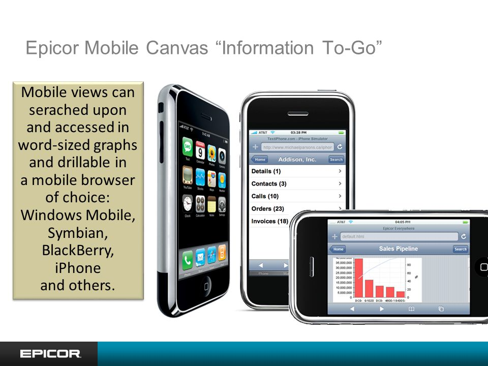 Epicor Mobile Canvas Information To-Go Mobile views can serached upon and accessed in word-sized graphs and drillable in a mobile browser of choice: Windows Mobile, Symbian, BlackBerry, iPhone and others.