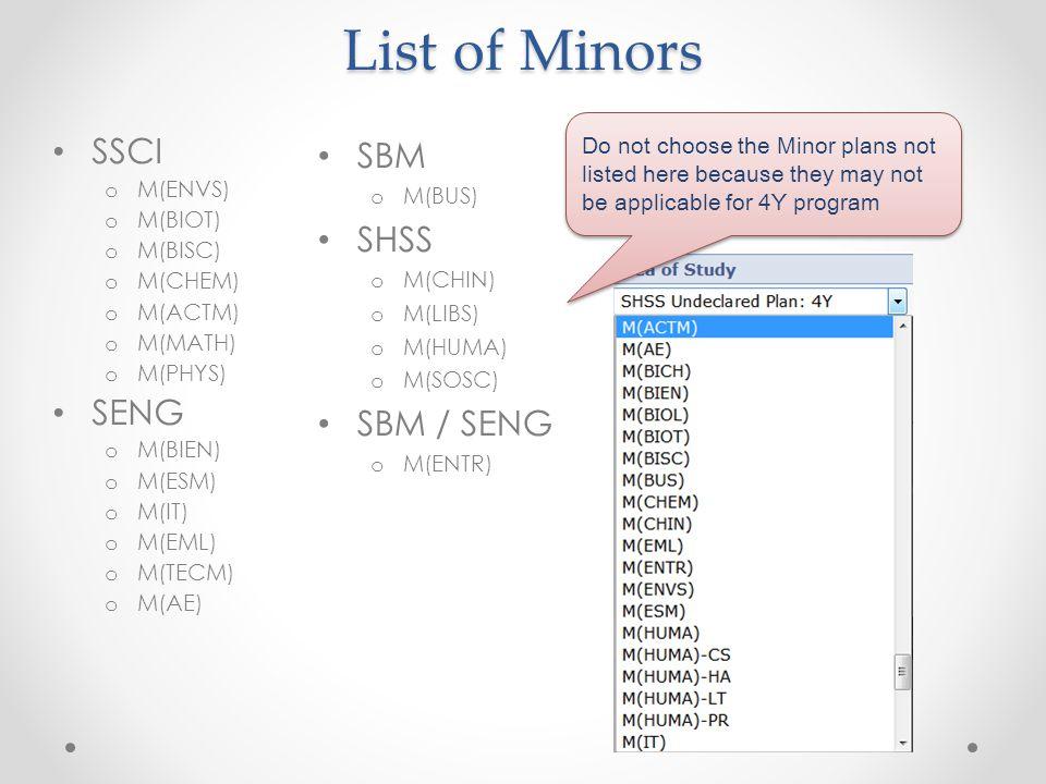 List of Minors SBM o M(BUS) SHSS o M(CHIN) o M(LIBS) o M(HUMA) o M(SOSC) SBM / SENG o M(ENTR) SSCI o M(ENVS) o M(BIOT) o M(BISC) o M(CHEM) o M(ACTM) o