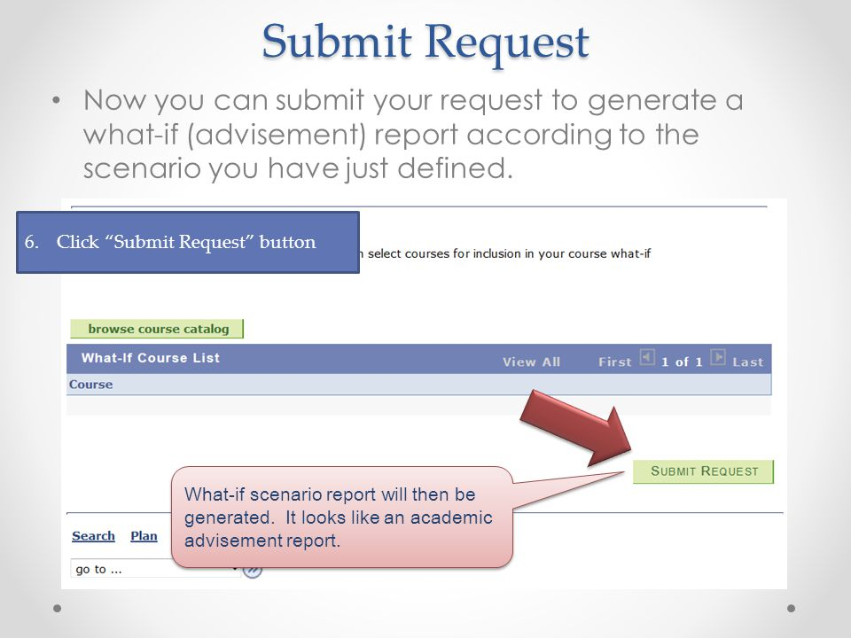 Submit Request Now you can submit your request to generate a what-if (advisement) report according to the scenario you have just defined.