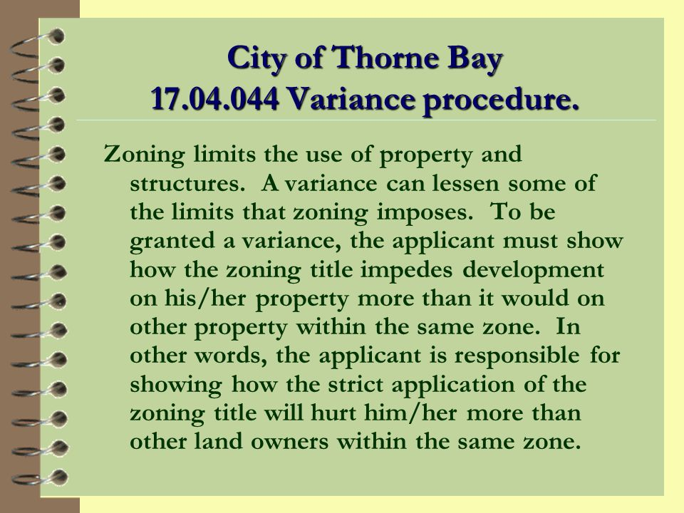 City of Thorne Bay Variance procedure.
