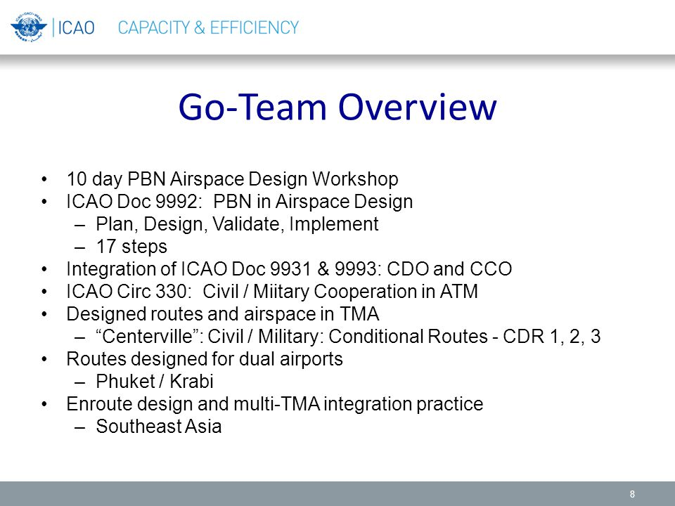 Go-Team Overview 10 day PBN Airspace Design Workshop ICAO Doc 9992: PBN in Airspace Design –Plan, Design, Validate, Implement –17 steps Integration of