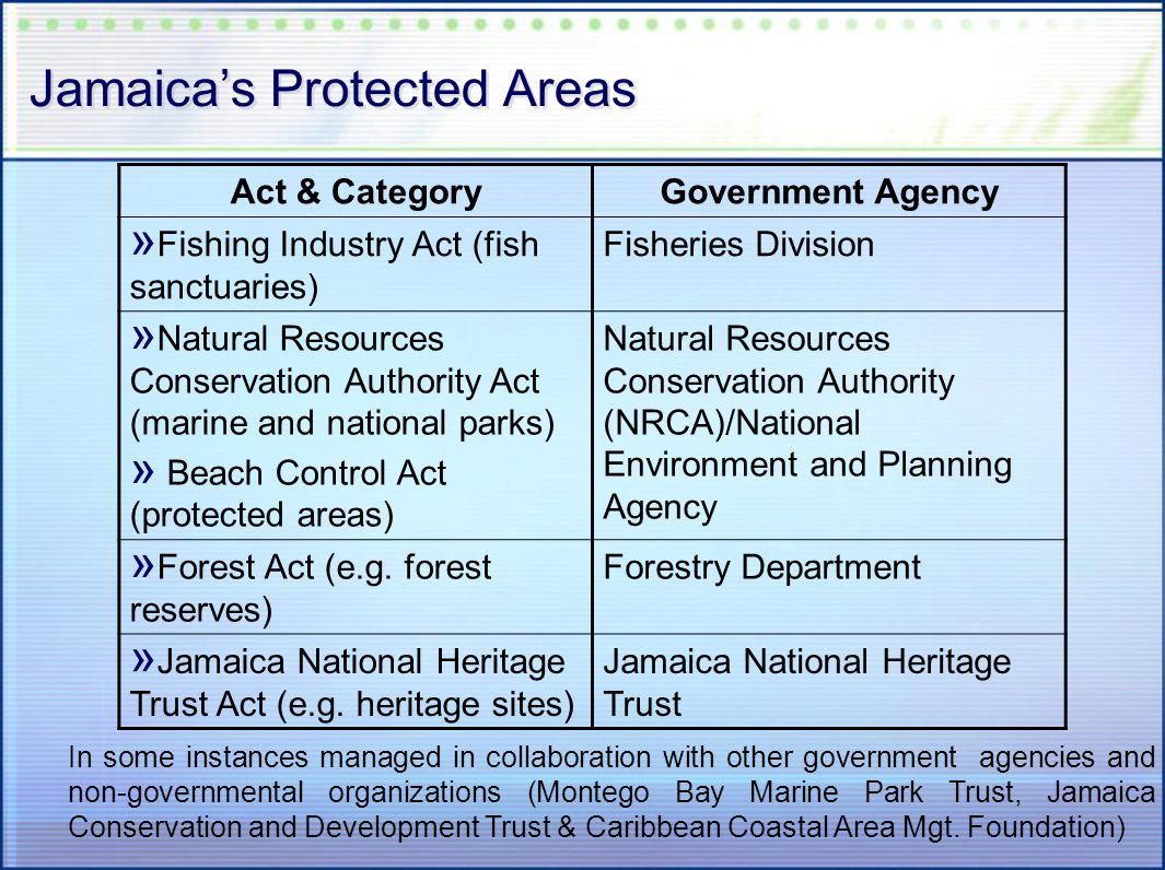 Jamaicas Protected Areas Act & CategoryGovernment Agency » Fishing Industry Act (fish sanctuaries) Fisheries Division » Natural Resources Conservation Authority Act (marine and national parks) » Beach Control Act (protected areas) Natural Resources Conservation Authority (NRCA)/National Environment and Planning Agency » Forest Act (e.g.