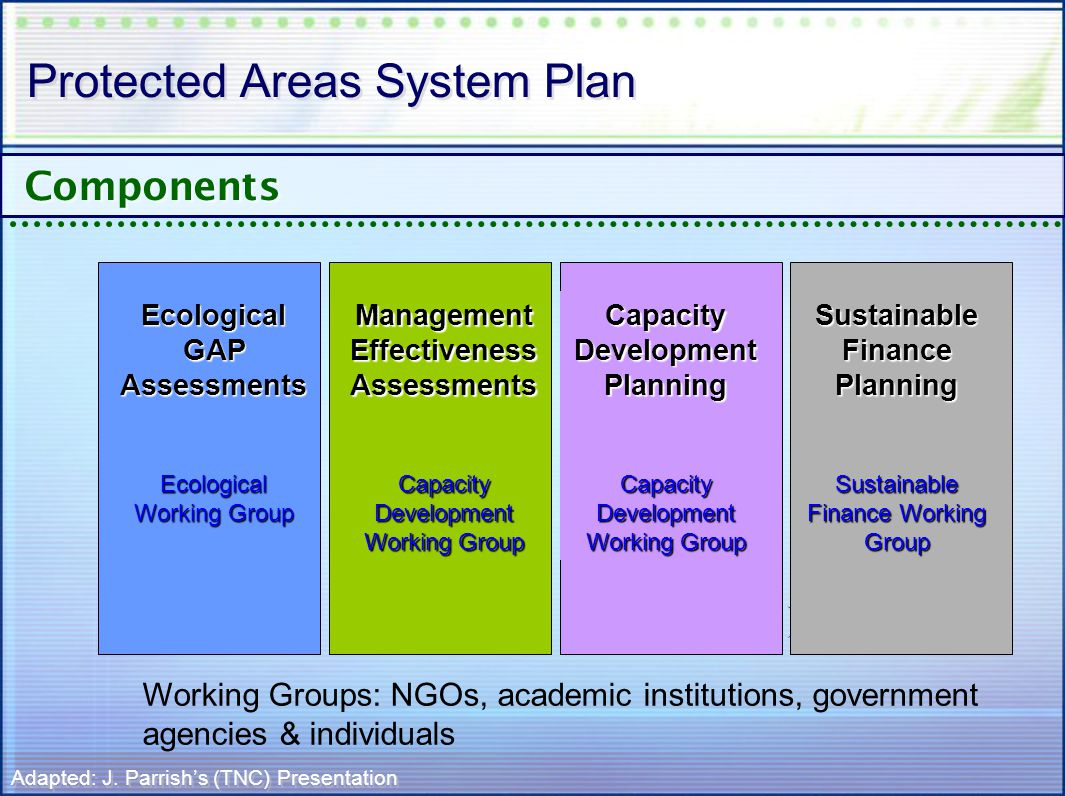 Protected Areas System Plan Components Ecological GAP Assessments Ecological Working Group Management Effectiveness Assessments Capacity Development Working Group Capacity Development Planning Capacity Development Working Group Sustainable Finance Planning Sustainable Finance Working Group Adapted: J.