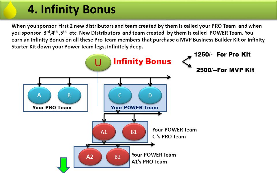 4. Infinity Bonus When you sponsor first 2 new distributors and team created by them is called your PRO Team and when you sponsor 3 rd,4 th,5 th etc N