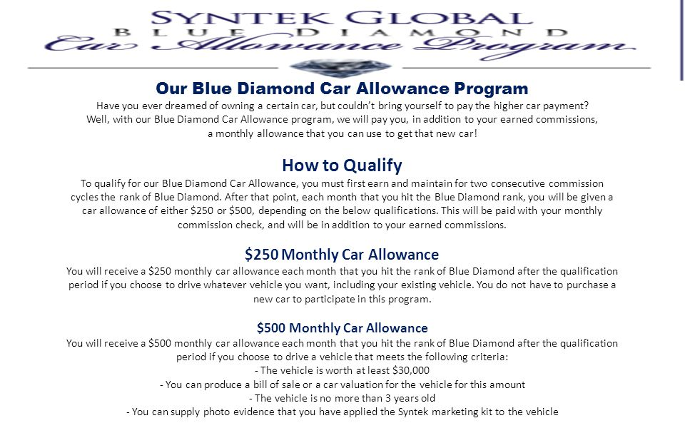 Our Blue Diamond Car Allowance Program Have you ever dreamed of owning a certain car, but couldnt bring yourself to pay the higher car payment? Well,