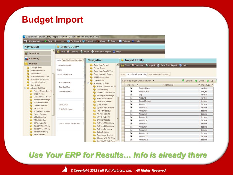 © Copyright 2012 Full Sail Partners, Ltd. – All Rights Reserved Use Your ERP for Results… Info is already there Budget Import