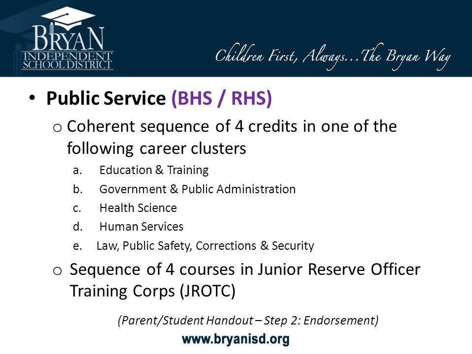 Public Service (BHS / RHS) o Coherent sequence of 4 credits in one of the following career clusters a.Education & Training b.Government & Public Admin