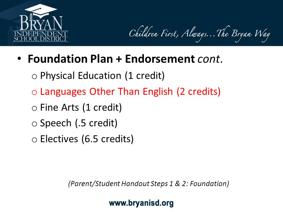 Foundation Plan + Endorsement cont. o Physical Education (1 credit) o Languages Other Than English (2 credits) o Fine Arts (1 credit) o Speech (.5 cre