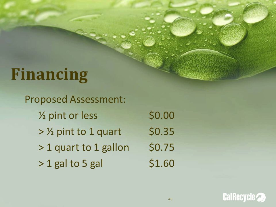 Financing Proposed Assessment: ½ pint or less$0.00 > ½ pint to 1 quart$0.35 > 1 quart to 1 gallon$0.75 > 1 gal to 5 gal$1.60 48