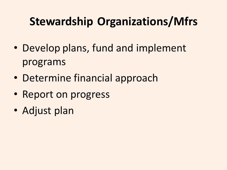 Stewardship Organizations/Mfrs Develop plans, fund and implement programs Determine financial approach Report on progress Adjust plan