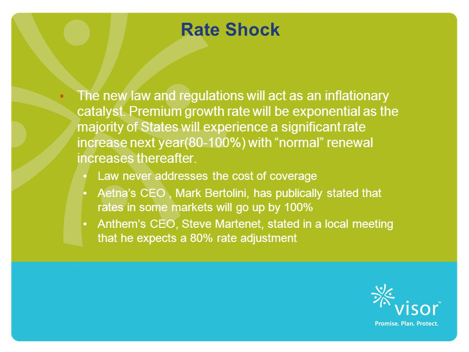 Rate Shock The new law and regulations will act as an inflationary catalyst. Premium growth rate will be exponential as the majority of States will ex