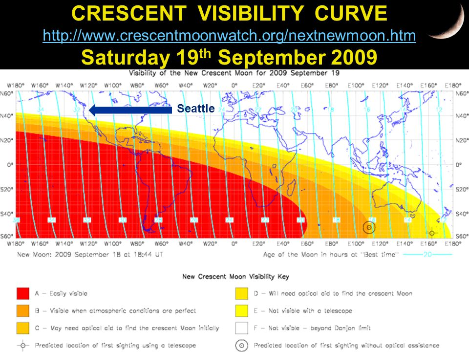 CRESCENT VISIBILITY CURVE http://www.crescentmoonwatch.org/nextnewmoon.htm Saturday 19 th September 2009 http://www.crescentmoonwatch.org/nextnewmoon.htm Seattle
