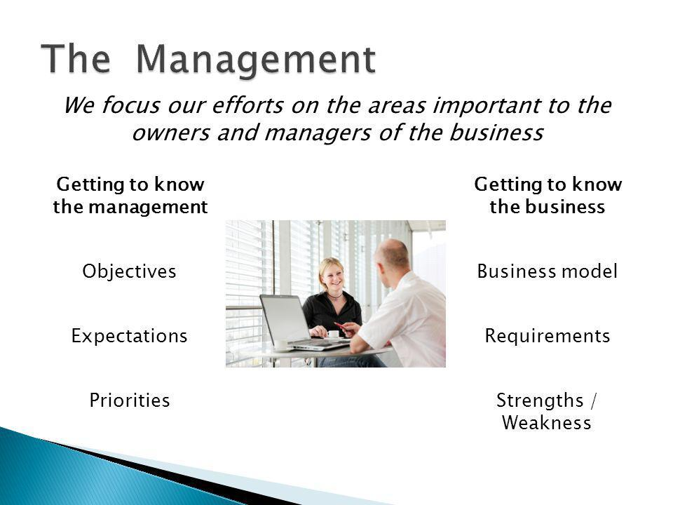Expectations Objectives Getting to know the management Priorities Requirements Business model Getting to know the business Strengths / Weakness We foc