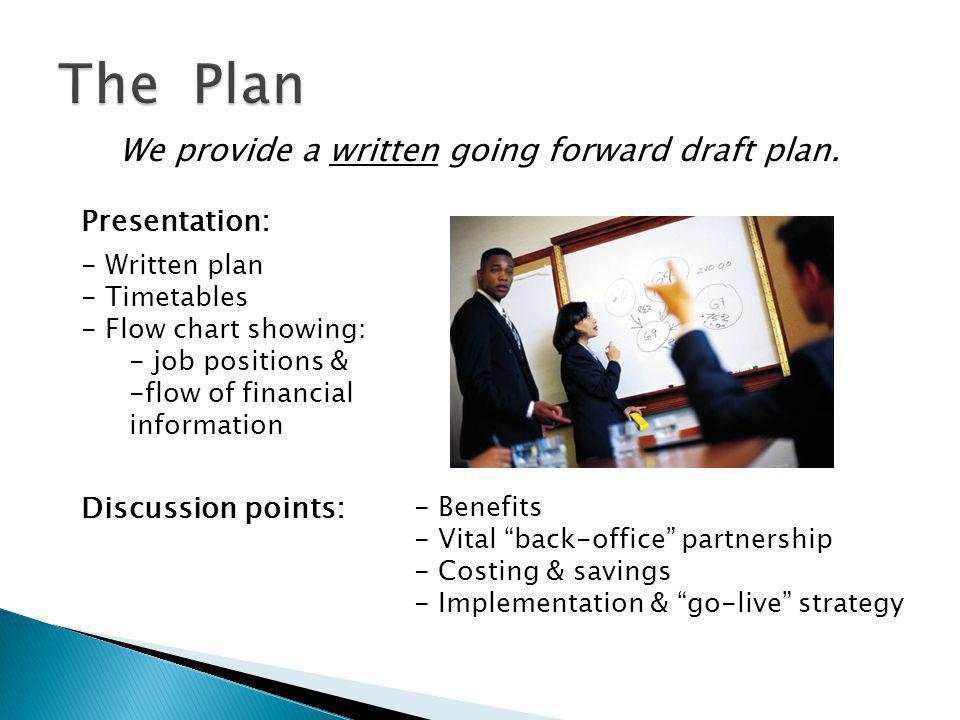 Key elements included in the draft plan.