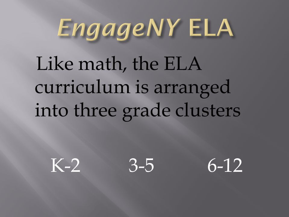 Like math, the ELA curriculum is arranged into three grade clusters K