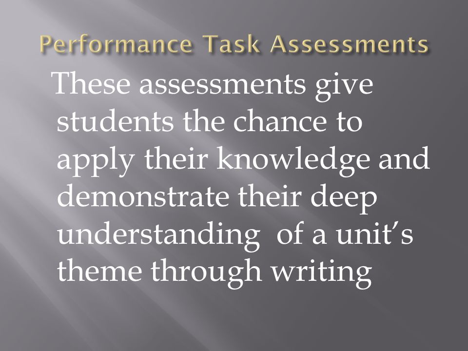 These assessments give students the chance to apply their knowledge and demonstrate their deep understanding of a units theme through writing