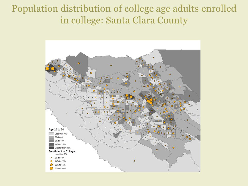 Population distribution of college age adults enrolled in college: Santa Clara County