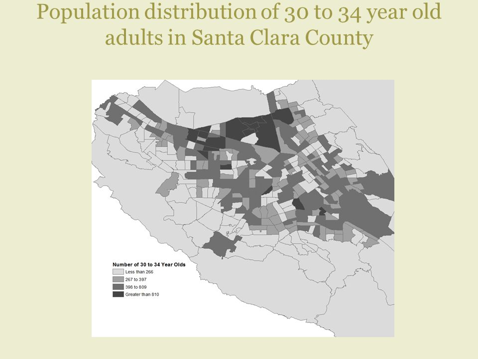 Population distribution of 30 to 34 year old adults in Santa Clara County