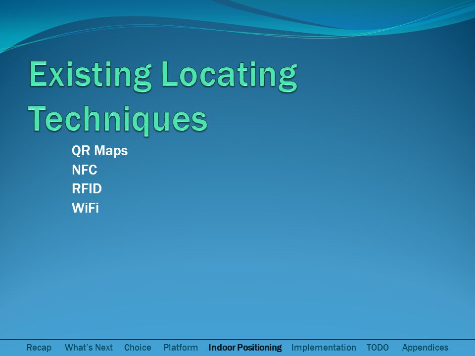 QR Maps NFC RFID WiFi Recap Whats Next Choice Platform Indoor Positioning Implementation TODO Appendices