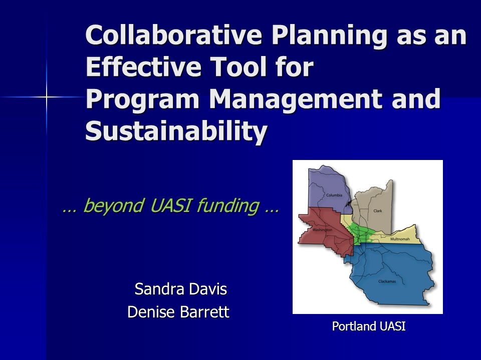 Collaborative Planning as an Effective Tool for Program Management and Sustainability … beyond UASI funding … Sandra Davis Sandra Davis Denise Barrett