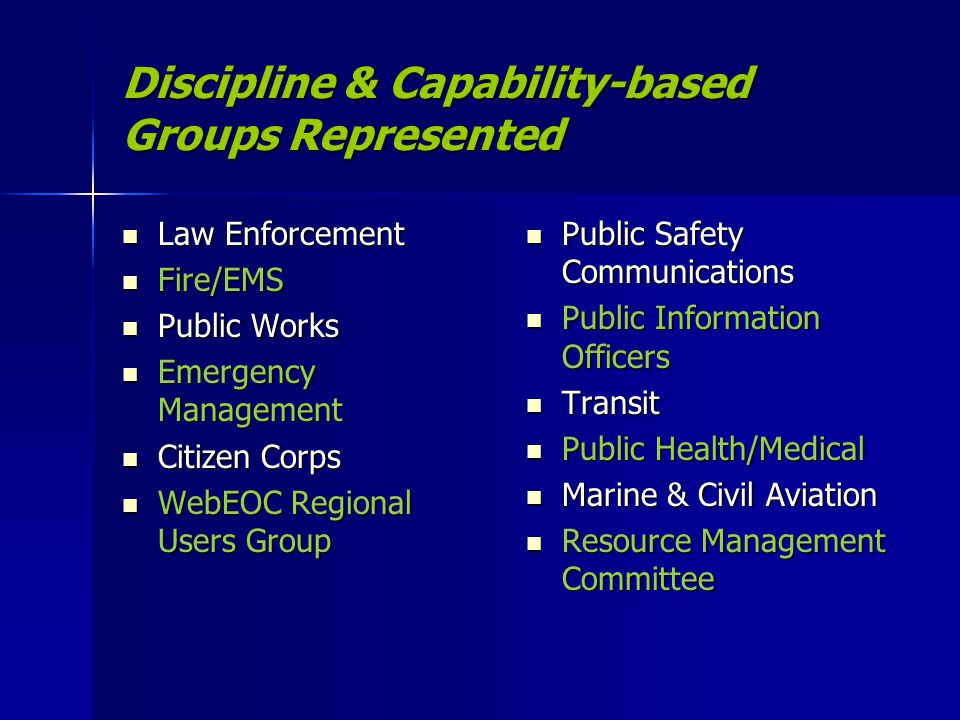 Discipline & Capability-based Groups Represented Law Enforcement Law Enforcement Fire/EMS Fire/EMS Public Works Public Works Emergency Management Emer