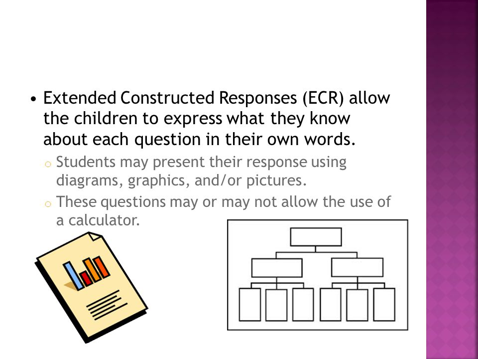 Extended Constructed Responses (ECR) allow the children to express what they know about each question in their own words.