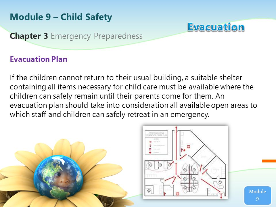 Chapter 3 Emergency Preparedness Use of Daily Roster During Evacuation Drills The center director or his/her designee must use a daily class roster in checking the evacuation and return to a safe space for ongoing care of all children and staff members in attendance during an evacuation drill.