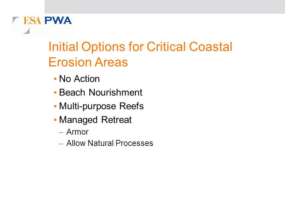 Initial Options for Critical Coastal Erosion Areas No Action Beach Nourishment Multi-purpose Reefs Managed Retreat – Armor – Allow Natural Processes