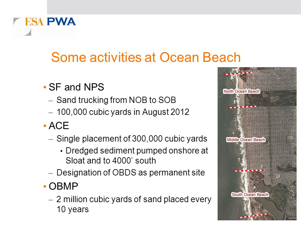 Some activities at Ocean Beach SF and NPS – Sand trucking from NOB to SOB – 100,000 cubic yards in August 2012 ACE – Single placement of 300,000 cubic yards Dredged sediment pumped onshore at Sloat and to 4000 south – Designation of OBDS as permanent site OBMP – 2 million cubic yards of sand placed every 10 years