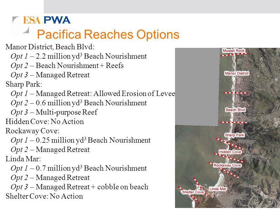 Manor District, Beach Blvd: Opt 1 – 2.2 million yd 3 Beach Nourishment Opt 2 – Beach Nourishment + Reefs Opt 3 – Managed Retreat Sharp Park: Opt 1 – Managed Retreat: Allowed Erosion of Levee Opt 2 – 0.6 million yd 3 Beach Nourishment Opt 3 – Multi-purpose Reef Hidden Cove: No Action Rockaway Cove: Opt 1 – 0.25 million yd 3 Beach Nourishment Opt 2 – Managed Retreat Linda Mar: Opt 1 – 0.7 million yd 3 Beach Nourishment Opt 2 – Managed Retreat Opt 3 – Managed Retreat + cobble on beach Shelter Cove: No Action Pacifica Reaches Options