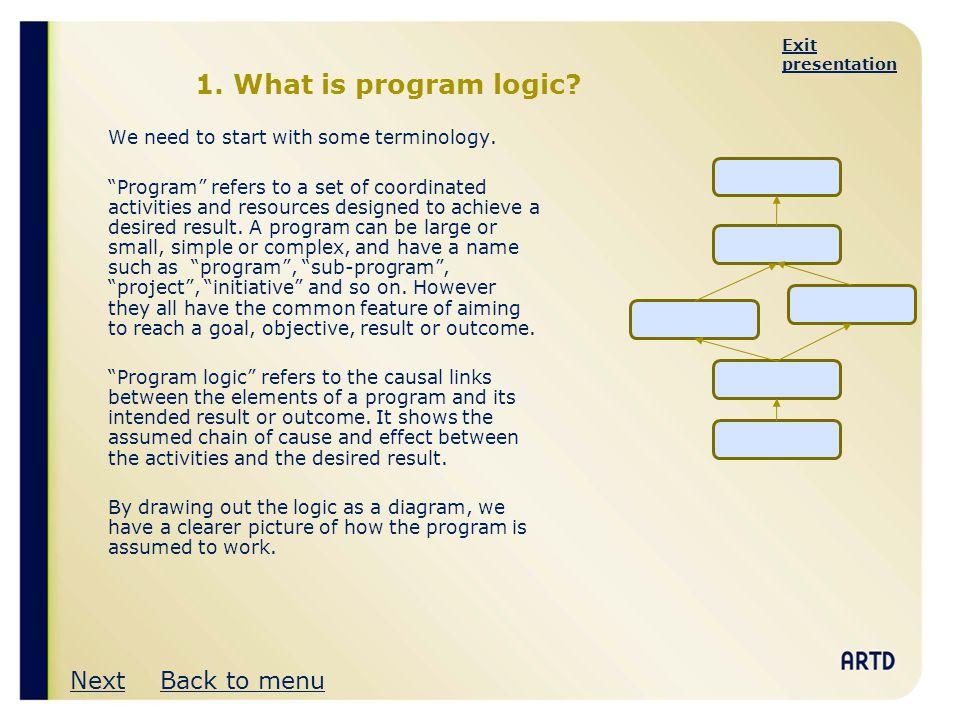 Exit presentation What is program logic.