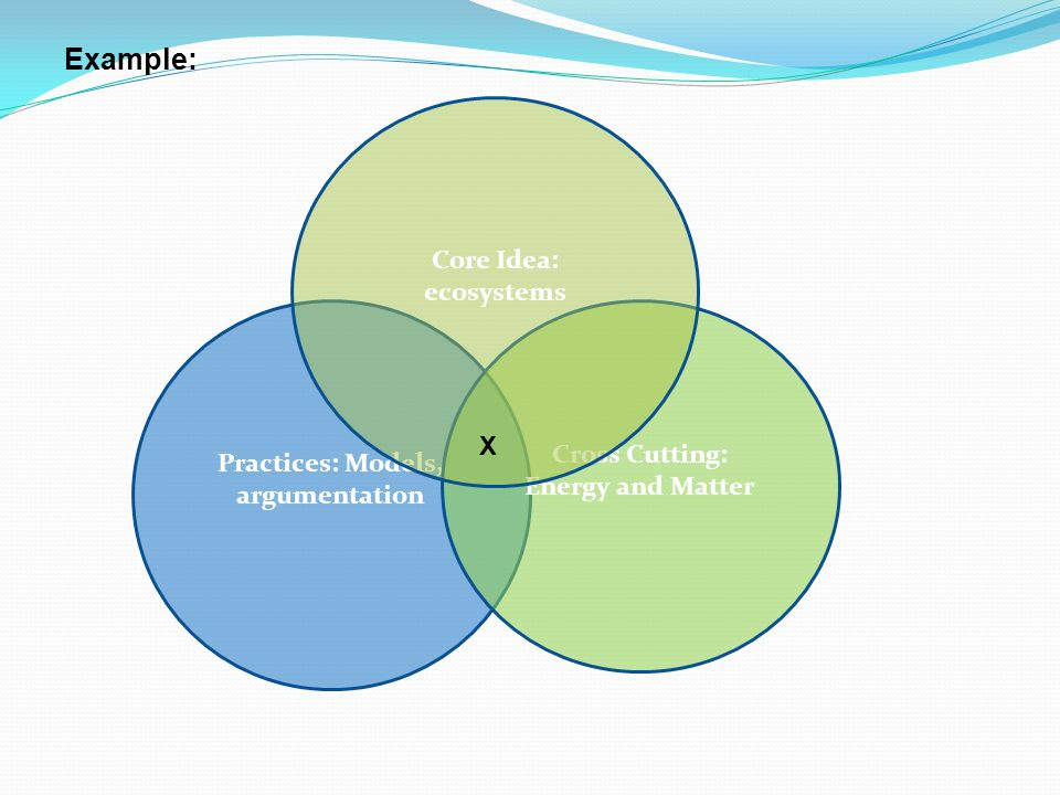 Practices: Models, argumentation Cross Cutting: Energy and Matter Core Idea: ecosystems X Example: