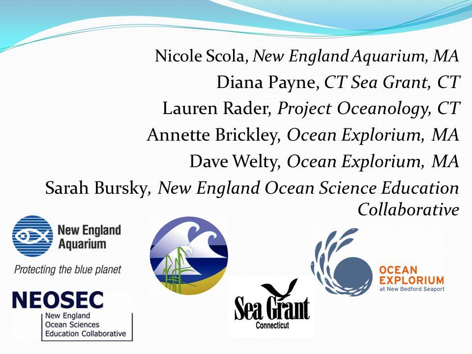 Nicole Scola, New England Aquarium, MA Diana Payne, CT Sea Grant, CT Lauren Rader, Project Oceanology, CT Annette Brickley, Ocean Explorium, MA Dave W